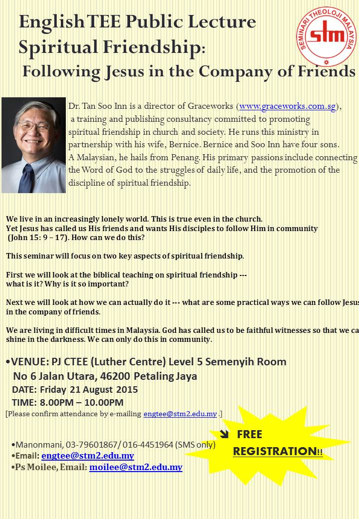STM English TEE Public Lecture @ PJ CTEE (Luther Centre), Level 5 Semenyih Room | Petaling Jaya | Selangor | Malaysia