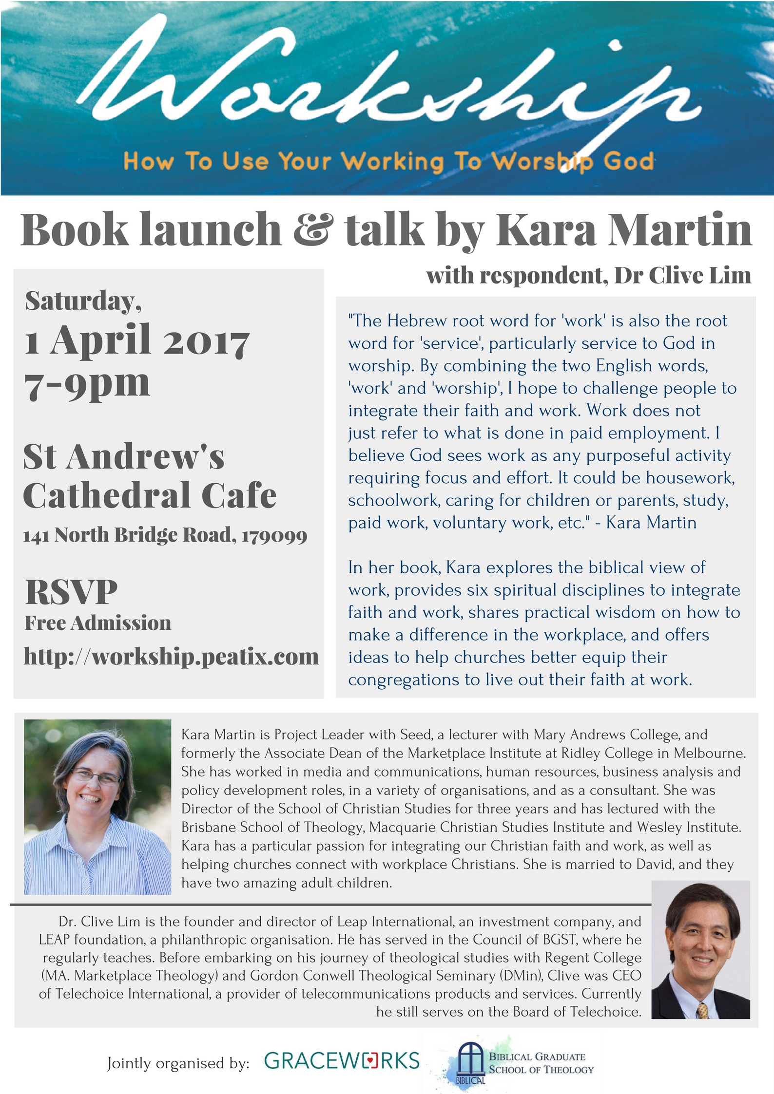 """Workship"" Book Launch @ St Andrew's Cathedral Cafe 